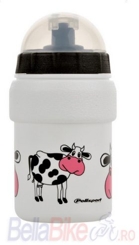 Bidonas de copii Polisport Cow 300 ml mini (ALB-ROZ)