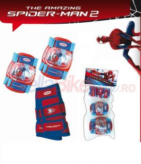 Set cotiere-genunchiere Spartan Spiderman, rosu-albastru