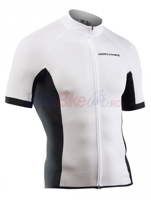 Tricou ciclism scurt Northwave Force, fermoar lung, alb
