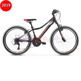 Bicicleta junior Kross HEXAGON JR 1.0, 2019, negru-rosu-argintiu
